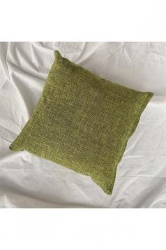 Homey Cozy Cotton Linen Plain Throw Pillow Cover Green 18x18in