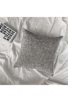 Homey Cozy Cotton Linen Plain Throw Pillow Cover Gray 18x18in