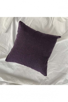 Homey Cozy Cotton Linen Plain Throw Pillow Cover Purple 18x18in
