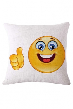 Cozy Thumbs Up Emoji Printed Throw Pillow Cover White 18x18in