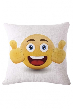Homey Thumbs Up Emoji Printed Throw Pillow Cover White 18x18in