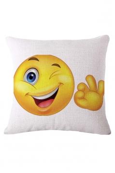 Homey Okay Emoji Printed Throw Pillow Cover White 18x18in