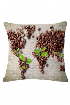 Homey Coffee Bean World Map Printed Throw Pillow Cover Coffee 18x18in