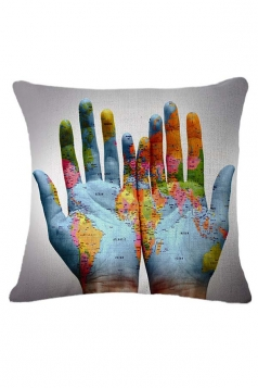 Stylish Hand World Map Printed Throw Pillow Cover 18x18in