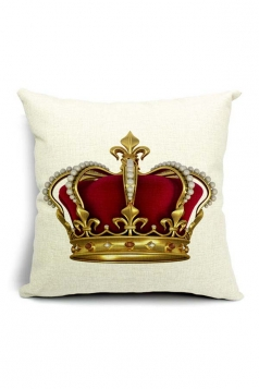 Vintage Royal Crown Printed Throw Pillow Cover Gold 18x18in