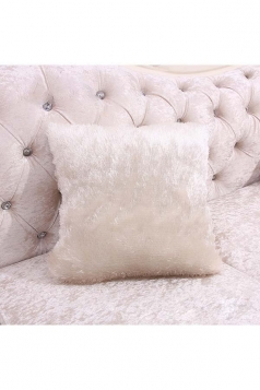 Homey Fluffy Plain Faux Fur Throw Pillow Cover Beige White 16x16in