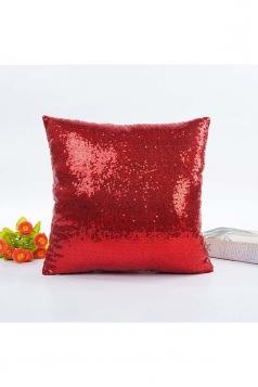 Trendy Glitter Sequin Plain Mermaid Pillow Cover Red 16x16in