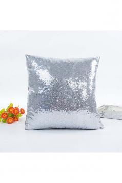 Trendy Glitter Sequin Plain Mermaid Pillow Cover Silver 16x16in