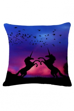Fantasy Homey Unicorn Bird Printed Throw Pillow Cover Blue 18x18in