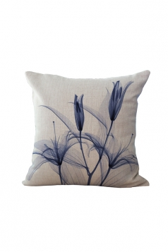 Elegant X Ray Flowers Printed Throw Pillow Cover Blue 18x18in