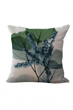 Elegant X Ray Flowers Printed Throw Pillow Cover Green 18x18in