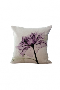 Elegant X Ray Flower Printed Throw Pillow Cover Purple 18x18in