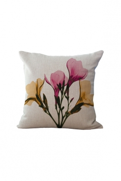Elegant X Ray Flowers Printed Throw Pillow Cover Pink 18x18in