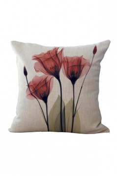 Elegant X Ray Flowers Printed Throw Pillow Cover Red 18x18in