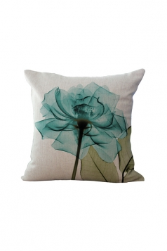 Elegant X Ray Flowers Printed Throw Pillow Cover Turquoise 18x18in