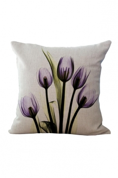 Elegant X Ray Flowers Printed Throw Pillow Cover White 18x18in
