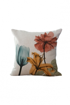 Elegant X Ray Flowers Printed Throw Pillow Cover Yellow 18x18in