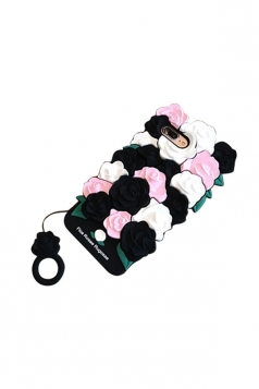 Black Dust Proof Soft Silicone With Ring Rose Flower Case for iPhone
