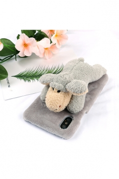 Light Gray Cute Fluffy Fur Sheep Animal Doll Plush Case for iPhone