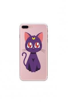 Purple Trendy Sailor Moon Luna Soft Transparent TPU Case for iPhone