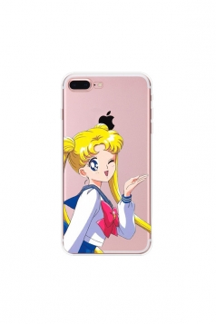 Red Trendy Sailor Moon Soft Transparent TPU Case for iPhone