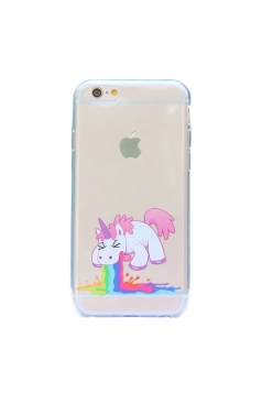 Green Cute Cartoon Rainbow Unicorn Soft Transparent Case for iPhone