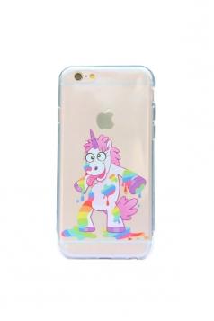 Purple Cute Cartoon Rainbow Unicorn Soft Transparent Case for iPhone