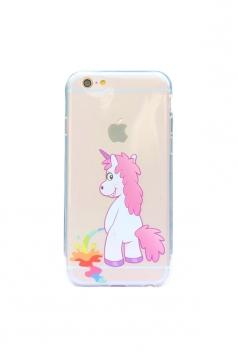 Pink Cute Cartoon Rainbow Unicorn Soft Transparent Case for iPhone