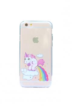 White Cute Cartoon Rainbow Unicorn Soft Transparent Case for iPhone