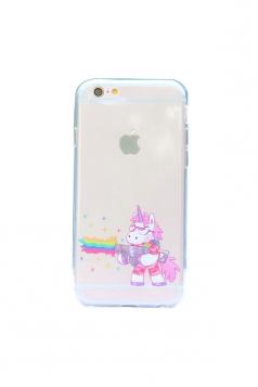 Yellow Cute Cartoon Rainbow Unicorn Soft Transparent Case for iPhone