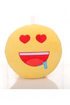 Cute Emoji Drool Face Round Cushion Soft?Throw Pillow 12.6x12.6x5.2in