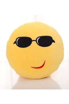 Cute Emoji Coolguy Expression Round Soft Throw Pillow 12.6x12.6x5.2in