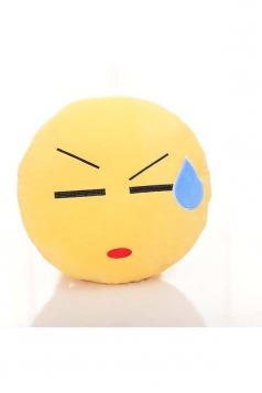 Emoji Speechless Face Round Soft Cute Throw Pillow 12.6x12.6x5.2in