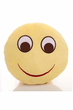 Lovely Emoji Smile Expression Round Soft Throw Pillow 12.6x12.6x5.2in