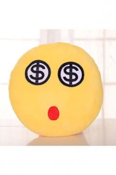 Emoji Eyes Of Money Expression Round Throw Pillow 12.6x12.6x5.2in