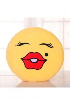 Emoji Beauty Face Round Cushion Soft Throw Pillow 12.6x12.6x5.2in