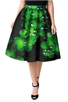 Womens Trendy Pleated Clover Printed Midi Skirt Dark Green