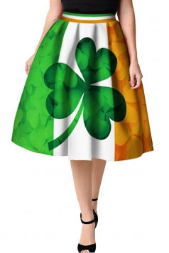 Womens Trendy Pleated Clover Printed Midi Skirt Emerald Green