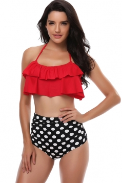 Womens Sexy Halter Ruffle Top&High Waist Printed Bottom Bikini Red
