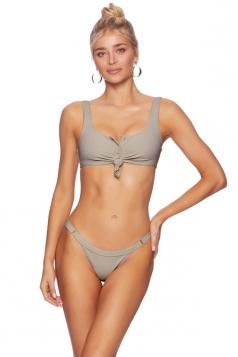 Womens Sexy Button Design Front Tie Two Piece Bikini Set Light Gray