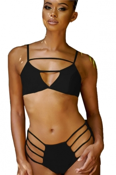 Womens Sexy Cut Out Backless Plain Push Up String Bikini Suit Black