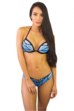 Womens Sexy Halter Backless Butterfly Printed Bikini Suit Light Blue