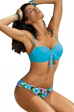 Womens Sexy Tie Bandage Bikini Top&Floral Swimsuit Bottom Blue