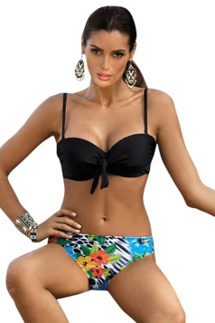 Womens Sexy Tie Bandage Bikini Top&Floral Swimsuit Bottom Black