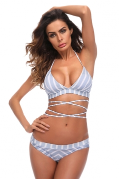 Womens Sexy Halter V Neck Lace Up Striped Bikini Suit Light Blue