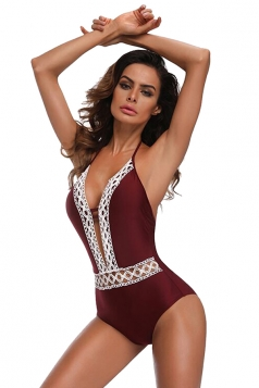 Womens Sexy Halter Lace Backless High Cut One Piece Swimsuit Ruby