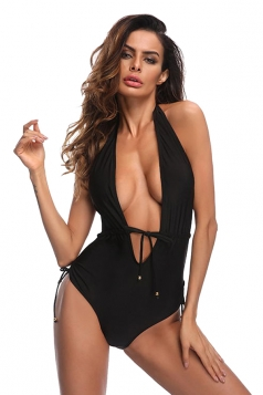 Womens Sexy V Neck Lace Up Halter High Cut One Piece Swimsuit Black