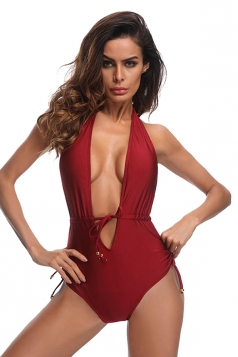 Womens Sexy V Neck Lace Up Halter High Cut One Piece Swimsuit Ruby