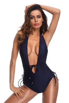 Womens V Neck Lace Up Halter High Cut One Piece Swimsuit Navy Blue