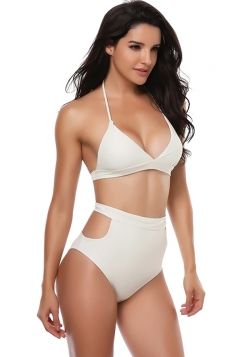 Womens Sexy Halter V Neck Backless High Waisted Bikini Suit White